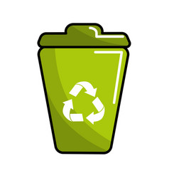 green can trash with recycling symbol vector image