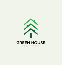 green house with pines logo sign symbol icon vector image