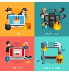 Hacker Attacks 2x2 Design Concept vector