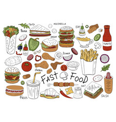 hand drawn fast food collection vector image