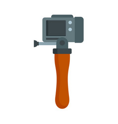 Hand stick camera icon flat style vector