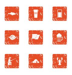 haul icons set grunge style vector image