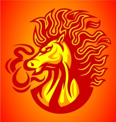 horse fire red logo vector image