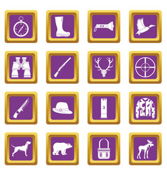 hunting icons set purple vector image
