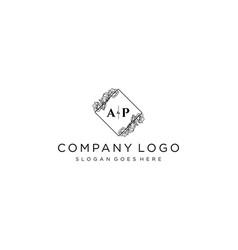 Initial ap letters botanical feminine logo vector