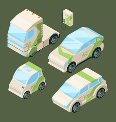 isometric electric cars various eco cars isolated vector image
