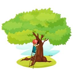 Ladder under tree vector