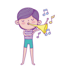 little musician boy playing music with trumpet vector image