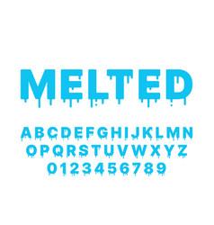 melting font blue liquid flowing english vector image