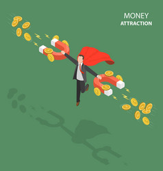 money attraction flat isometric low poly concept vector image