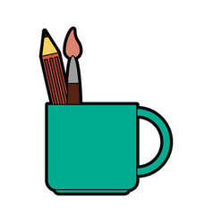 Mug with stationery tools icon image vector