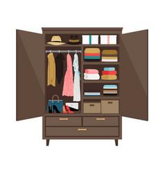 Open wooden wardrobe vector