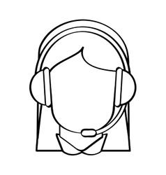 Operator woman with headphone design vector