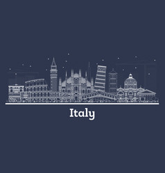 outline italy city skyline with white buildings vector image