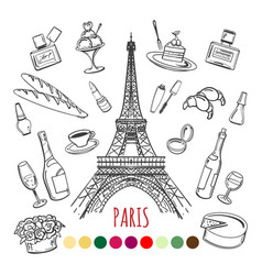 Paris coloring page with color swatches vector