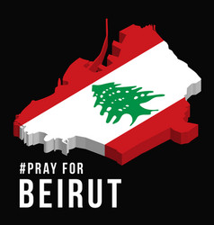 pray for beirut with beirut map on black vector image