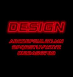 red neon style alphabet italic contour line font vector image