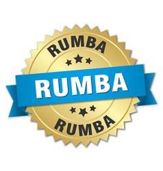 Rumba 3d gold badge with blue ribbon vector