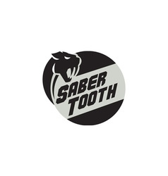 Saber tooth tiger cat head circle retro vector