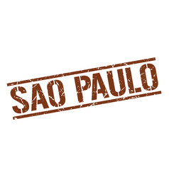 Sao paulo brown square stamp vector