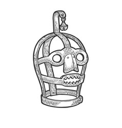 scolds bridle torture device sketch vector image