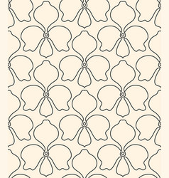Seamless linear flower pattern on beige background vector