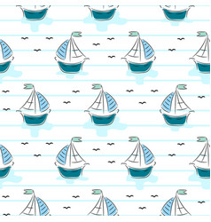 seamless pattern with cartoon boats on stripe vector image