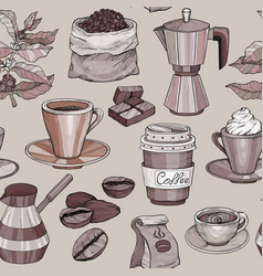 seamless pattern with coffee hand drawn vector image
