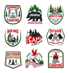 set camping hiking mountains outdoor emblems vector image