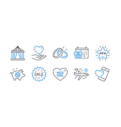 Set holidays icons such as circus tent vector