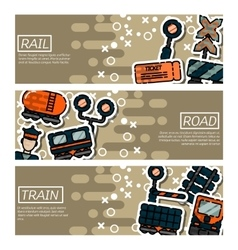Set of Horizontal Banners about railroads vector
