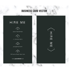 simple black business card template vector image
