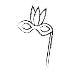 Sketch draw party mask cartoon vector