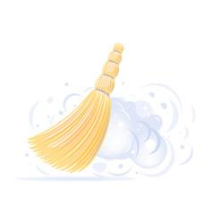 Small yellow broom sweep dust vector