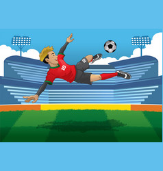 Soccer player doing jump volley kick vector