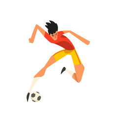 soccer player jumping touch a soccer ball in the vector image