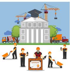 study work under construction technic in builder vector image