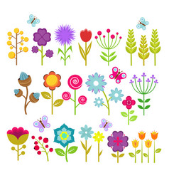 Summer flowers isolated collection cute vector
