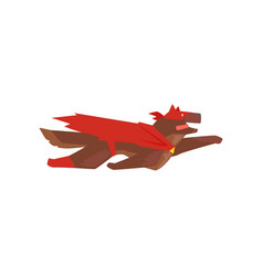 Superhero dog character flying super dog dressed vector