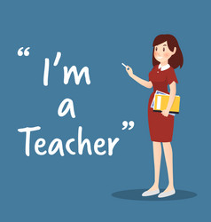 teacher character with book and chalk on blue vector image