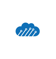 technology connect with clouds symbol logo vector image