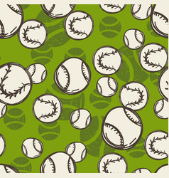 tennis ball pattern sport sketch seamless vector image