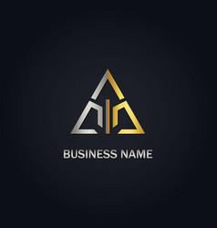 triangle line gold logo vector image