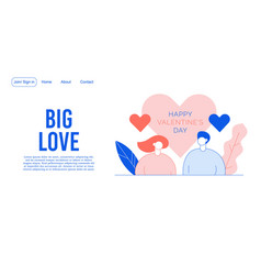 Valentine day people in love landing page design vector