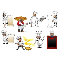 Variety cartoon chefs and bakers vector image
