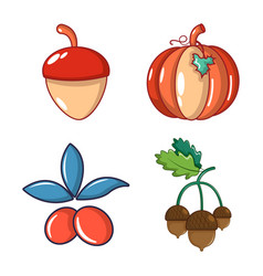 Vegetables icon set cartoon style vector