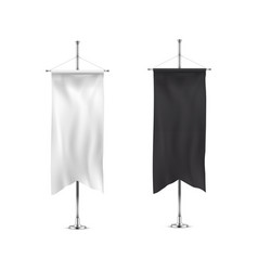 Vertical banners hanging on a metal flagpole white vector