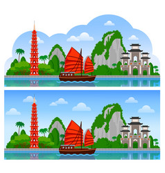 Vietnam horizontal panoramic day view vector