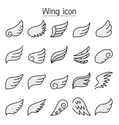 Wing icons set colorline style vector