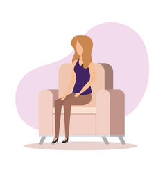 woman sitting in sofa livingroom vector image